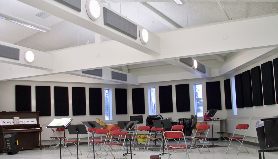 band room with broadway panels and columns