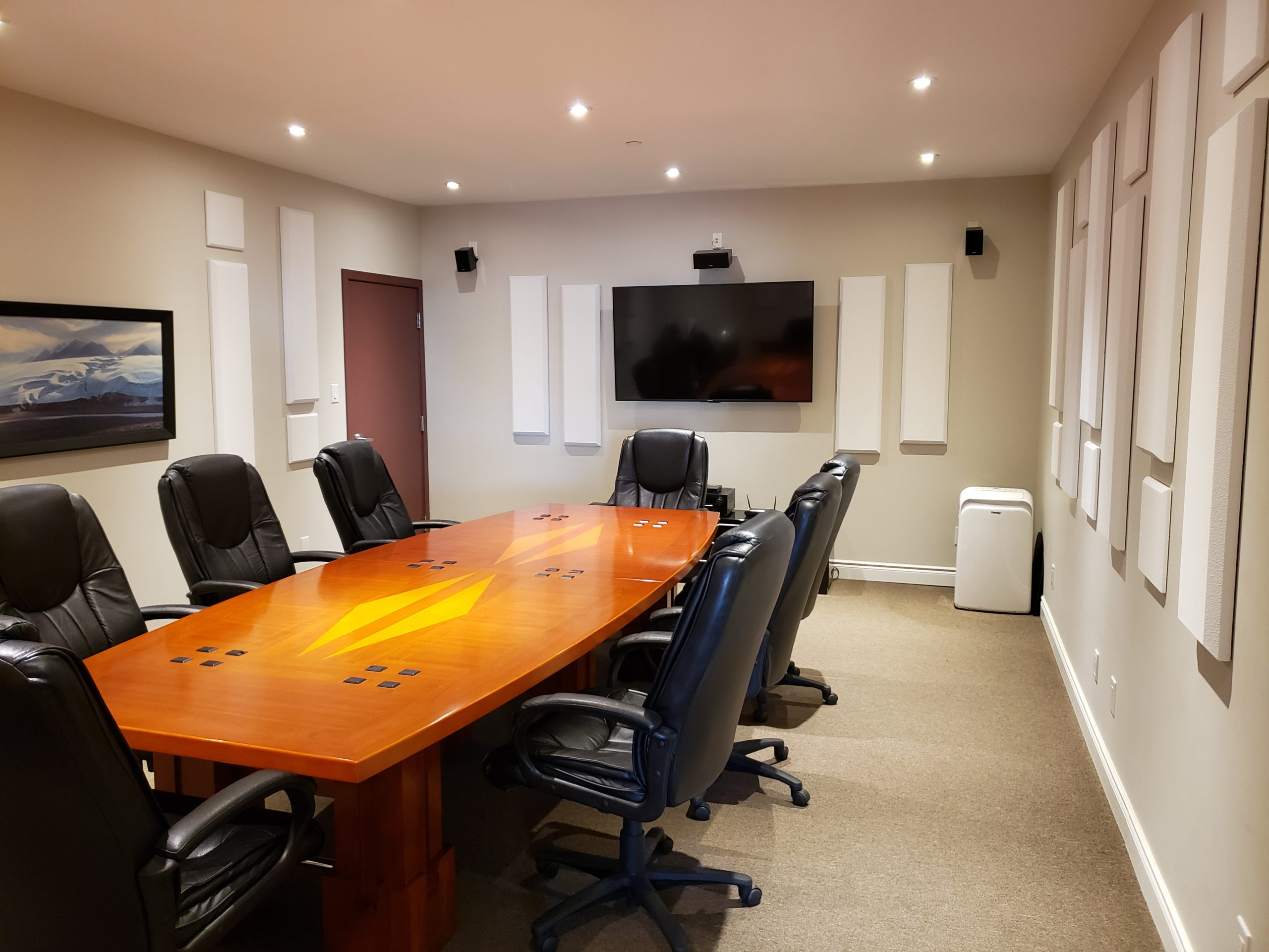 Board room equipped with thick sound panels