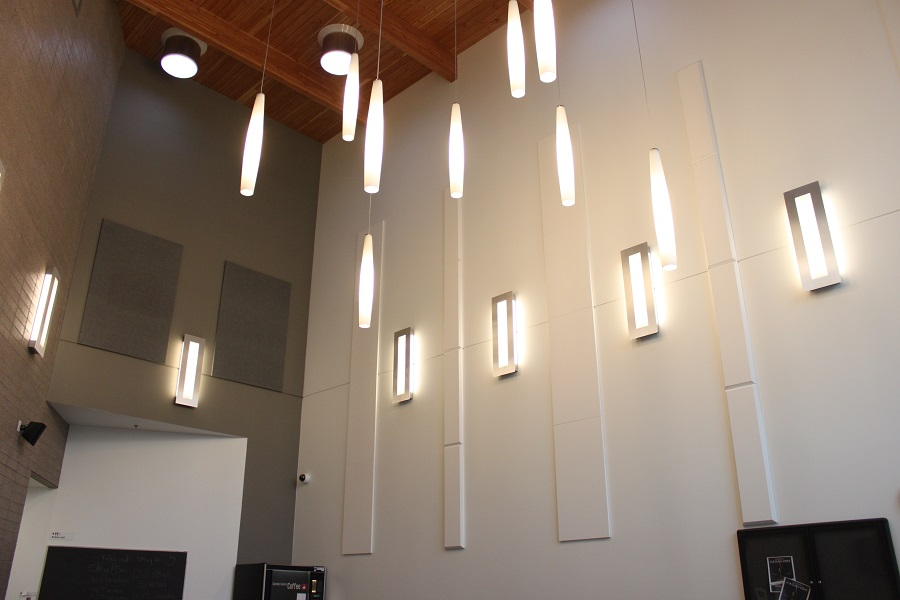 White broadway wall panels Parkinson Rec Center