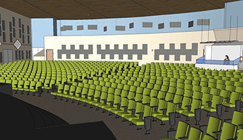 Diagram of Aspen Academy auditorium showing Primacoustic acoustic panels