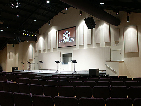 Image of a church interior with sound absorption panels