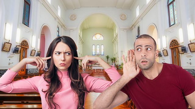 Couple in house of worship displaying disapproval of sound
