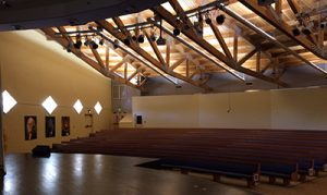 The Aspen Academy auditorium features high ceilings that made speech intelligibility and sound bleed an issue before Primacoustic acoustic panels were installed.