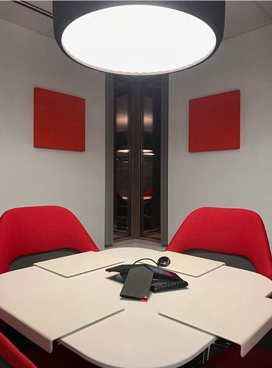 Red paintables in office