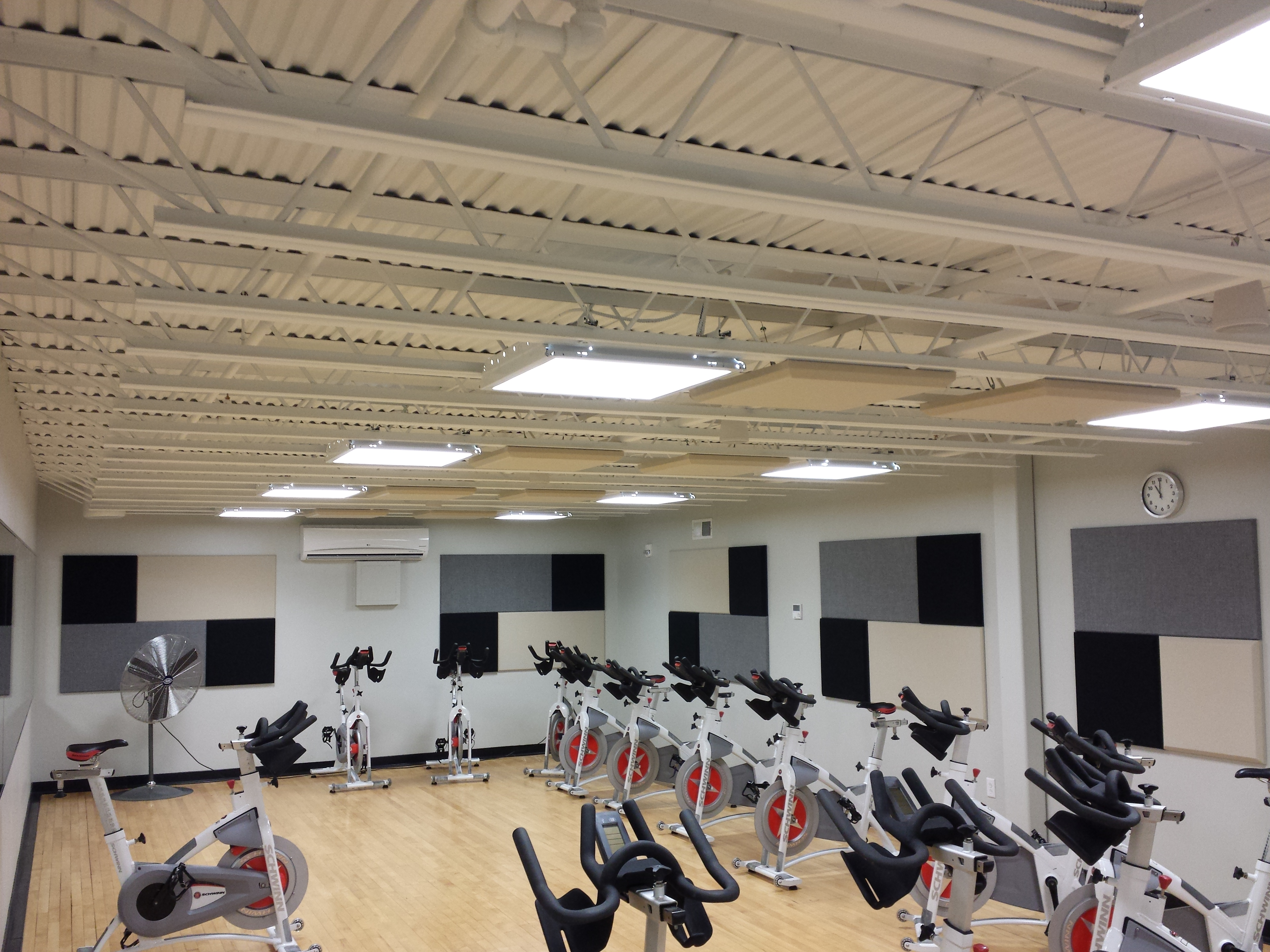 Broadway panels scatterblocks in spin class room