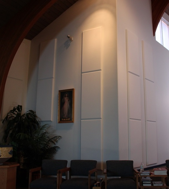 White broadway panels on wall in house of worship