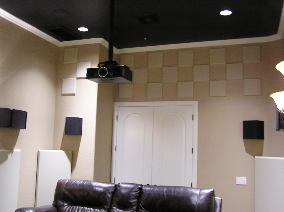 scatterblocks bass traps and panels in Nicholas Theatre room