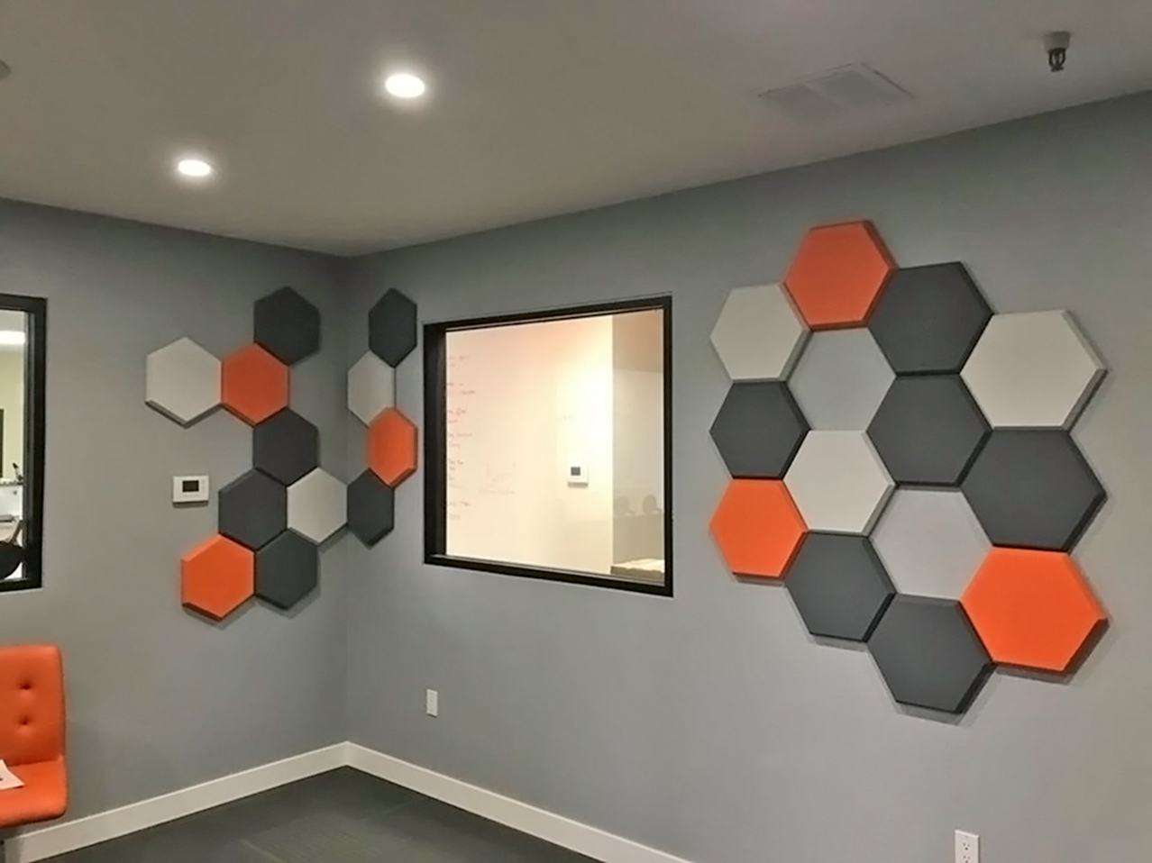 Primacoustic painted Element accent panels in office