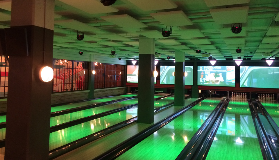 acoustic ceiling panels in bowling alley