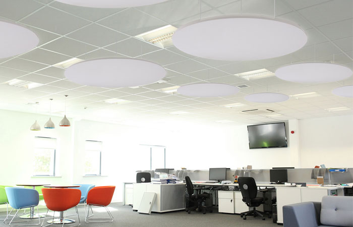 Cirrus cloud panels in office