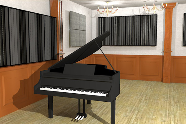 Flexifuser and broadway panels in piano room sketch