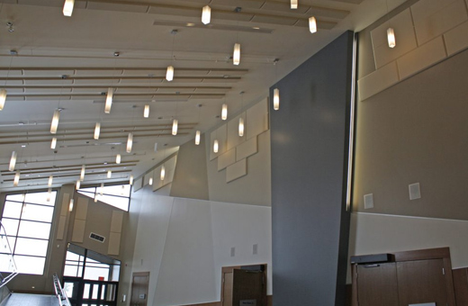 hall with lanterns and broadway panels