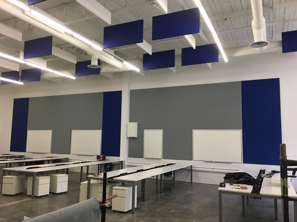 Primacoustic Paintable panels help control excess reverberation and noise in industrial environments